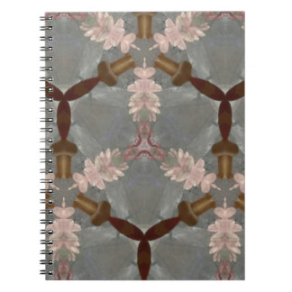 Peach Floral Brown Bamboo Abstract Asian Pattern Spiral Note Book