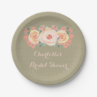 Peach Floral Burlap Bridal Shower Plate 7 Inch Paper Plate