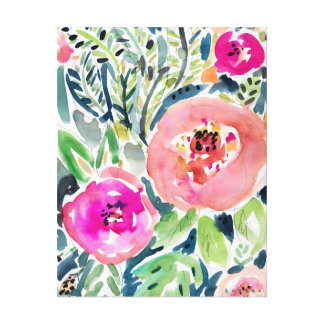 PEACH FLORAL CANVAS PRINT