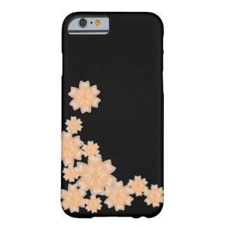 Peach Floral Design (Black) - iPhone 6 Case / Skin Barely There iPhone 6 Case