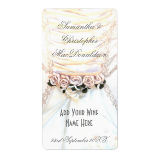 Peach floral flowers wedding dress wine bottle shipping label