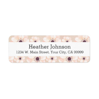 Peach Floral Girly Watercolor Flowers Return Address Label