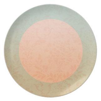 Peach Floral Dinner Plate