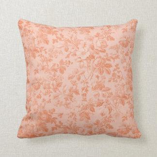 Peach Floral Throw Cushions