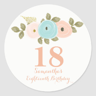 Peach Floral Watercolor 18th Birthday Girl Sticker