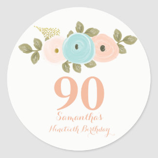 Peach Floral Watercolor 90th Birthday Sticker