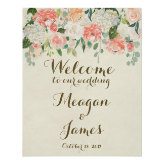 peach floral wedding welcome poster sign