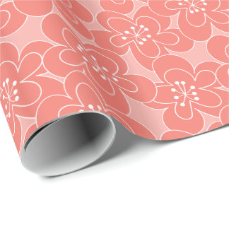 Peach Floral Wrapping Paper