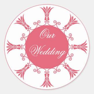 Peach Flourish Design-Our Wedding Sticker
