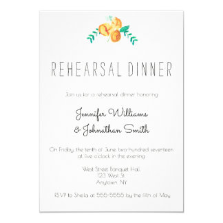 Peach flower floral rehersal dinner invitations