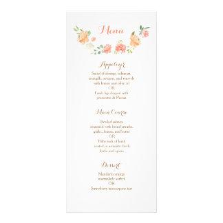 Peach flower watercolor wedding table number rack card design
