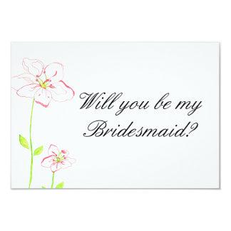 Peach Flowers Bridesmaid Invitation