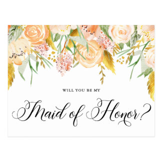 Peach Flowers Gold Will You Be My Maid of Honor Postcard