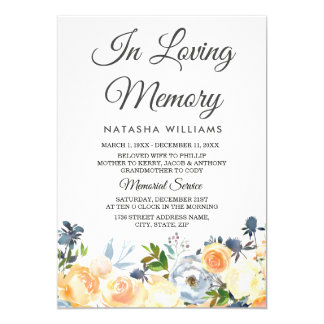 Peach Flowers Memorial Announcement Service