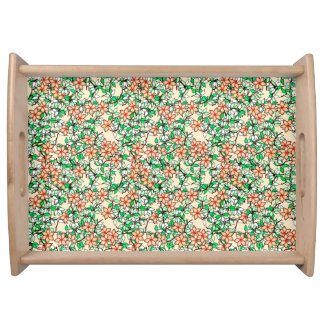 Peach flowers, pale peach background service trays