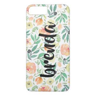 Peach Flowers Pattern & Script Typography Monogram iPhone 8 Plus/7 Plus Case