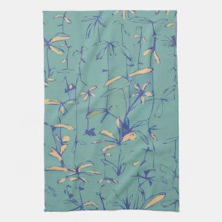 Peach flowers tea towel