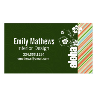 Peach & Forest Green Striped; Aloha Business Card Template
