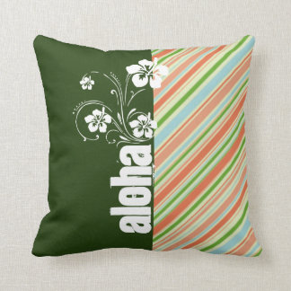 Peach Forest Green Striped Aloha Pillows