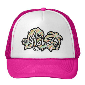 Peach & Forest Green Striped; Aloha Trucker Hat