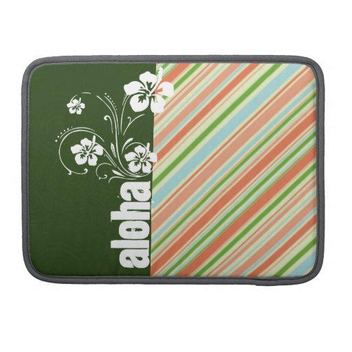 Peach & Forest Green Striped; Aloha Sleeves For MacBook Pro