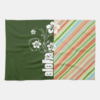 Peach & Forest Green Striped; Aloha Tea Towel