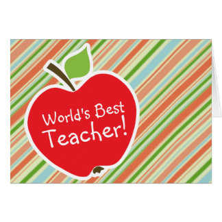 Peach & Forest Green Striped; Apple Greeting Card