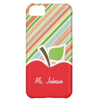 Peach Forest Green Striped Apple Case For iPhone 5C