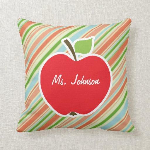 Peach & Forest Green Striped; Apple Throw Pillows