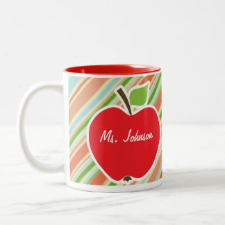 Peach & Forest Green Striped; Apple Mug