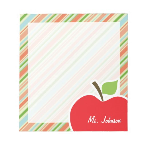 Peach & Forest Green Striped; Apple Memo Note Pads