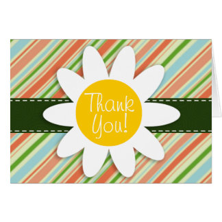 Peach & Forest Green Striped; Daisy Note Card
