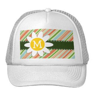 Peach & Forest Green Striped; Daisy Trucker Hats