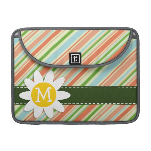 Peach & Forest Green Striped; Daisy Sleeves For MacBooks