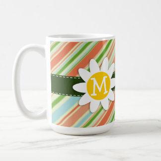 Peach & Forest Green Striped; Daisy Coffee Mug