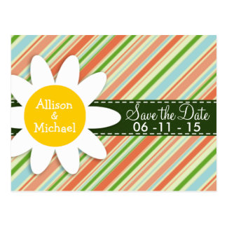 Peach & Forest Green Striped; Daisy Postcard