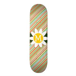 Peach Forest Green Striped Daisy Skateboards