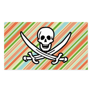 Peach & Forest Green Striped Jolly Roger Business Card Template