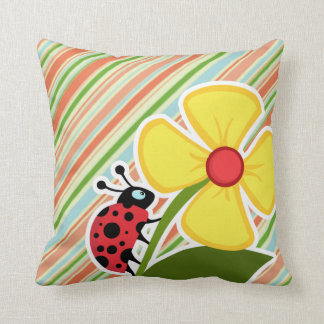 Peach Forest Green Striped Ladybug Pillow