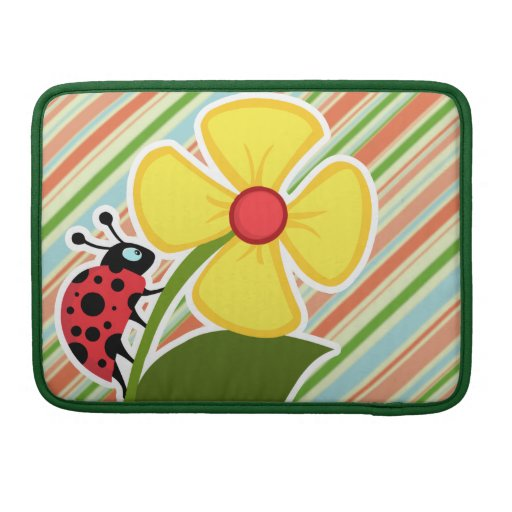 Peach & Forest Green Striped Ladybug Sleeves For MacBook Pro