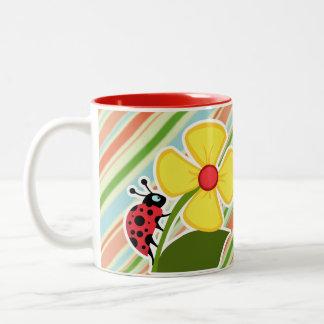 Peach Forest Green Striped Ladybug Mugs