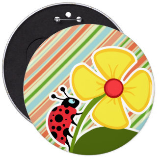 Peach Forest Green Striped Ladybug Pinback Button
