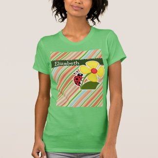 Peach & Forest Green Striped Ladybug T Shirt