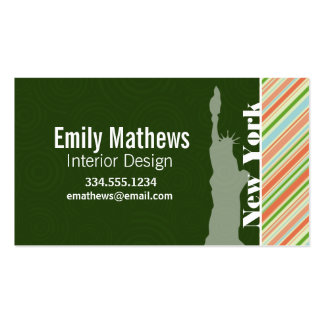 Peach & Forest Green Striped New York Business Cards