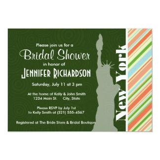 Peach & Forest Green Striped New York 13 Cm X 18 Cm Invitation Card