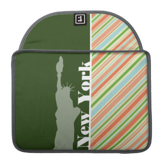 Peach & Forest Green Striped New York Sleeve For MacBook Pro