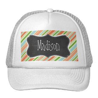 Peach & Forest Green Striped; Vintage Chalkboard Trucker Hats