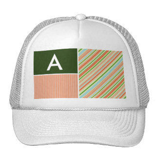 Peach & Forest Green Stripes; Striped Hat