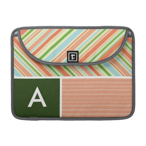 Peach & Forest Green Stripes; Striped Sleeve For MacBook Pro