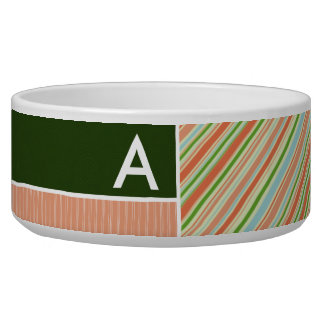 Peach & Forest Green Stripes; Striped Pet Water Bowls